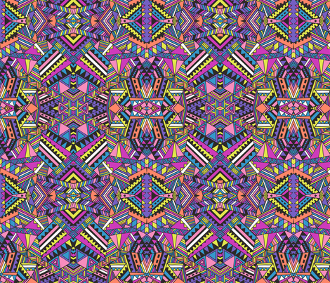 Aztec mirror_neon fabric by chulabird on Spoonflower - custom fabric