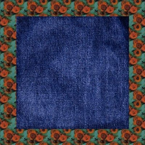 Van Gogh's Sunflowers Denim Cheater Quilt Blocks