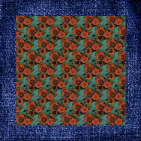 "Van Gogh's Sunflowers on ""Denim"" Cheater Quilt Blocks  fabric by bohobear on Spoonflower - custom fabric"