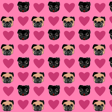 Pug Love, small print  fabric by missyq on Spoonflower - custom fabric