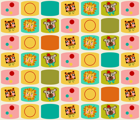 Circus Blocks ~ on vanilla (green, orange and blue) fabric by retrorudolphs on Spoonflower - custom fabric