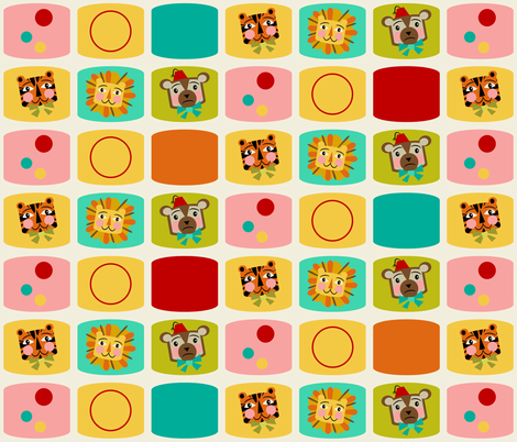 Circus Blocks ~ on vanilla (red, orange and blue) fabric by retrorudolphs on Spoonflower - custom fabric