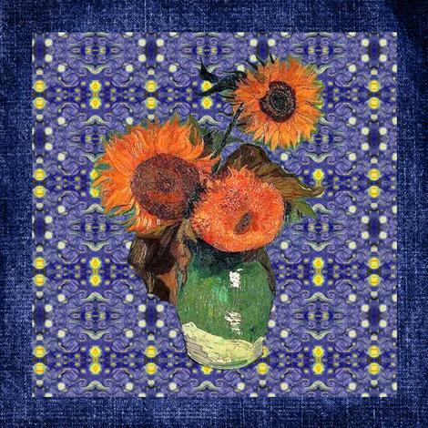 "Van Gogh's Sunflowers on ""Denim"" Cheater Quilt Blocks  fabric by bohobear on Spoonflower - custom fabric"