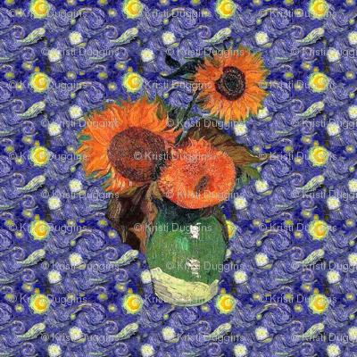 "Van Gogh's Sunflowers on ""Denim: Quilt Blocks"