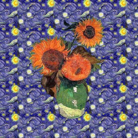 "Van Gogh's Sunflowers on ""Denim: Quilt Blocks fabric by bohobear on Spoonflower - custom fabric"