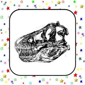 Bohemian Dinosaur | Vintage T-Rex Skull Rainbow Stars