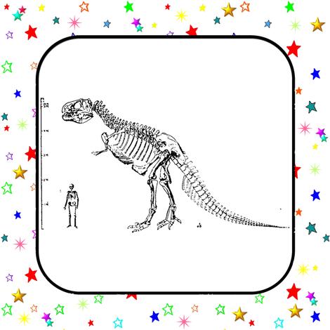 Bohemian Dinosaur | Vintage T-Rex Skeleton Rainbow Stars Quilt Blocks fabric by bohobear on Spoonflower - custom fabric