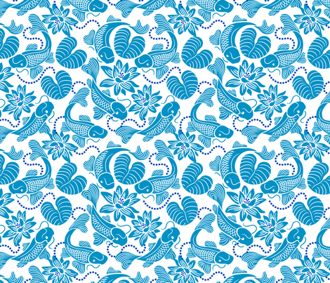 Blue Koi on White fabric by dianne_annelli on Spoonflower - custom fabric