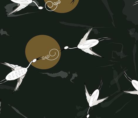 Night_Cranes fabric by designergena on Spoonflower - custom fabric
