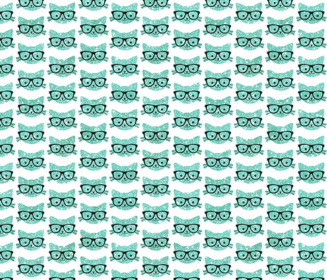 Sparkle Kitties Turquoise fabric by cynthiafrenette on Spoonflower - custom fabric