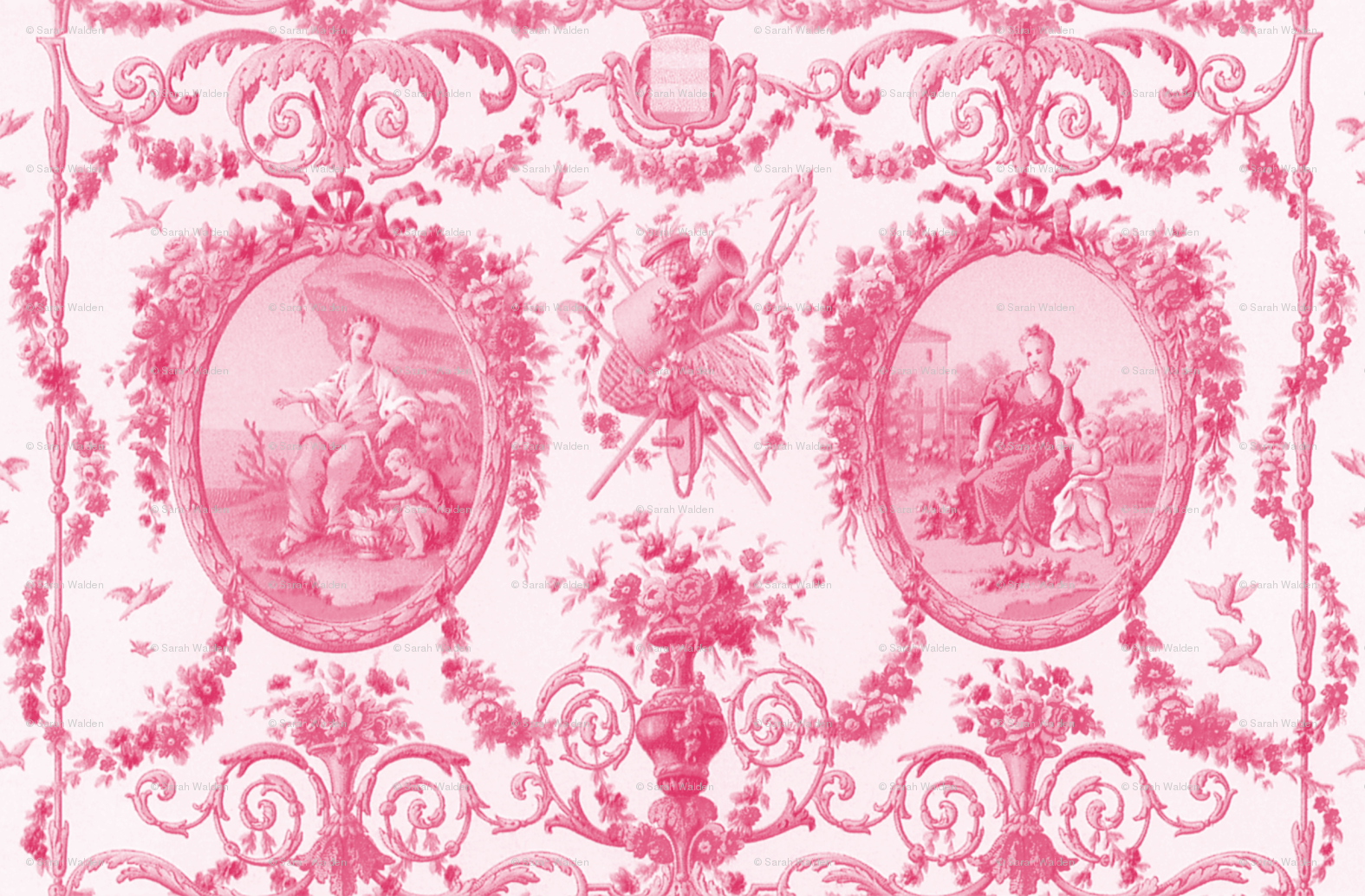 Rococo Harvest Pink And White Wallpaper