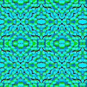 blue and green floral pattern