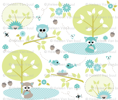 Woodland babies in mint