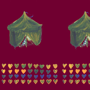 Tents and hearts red
