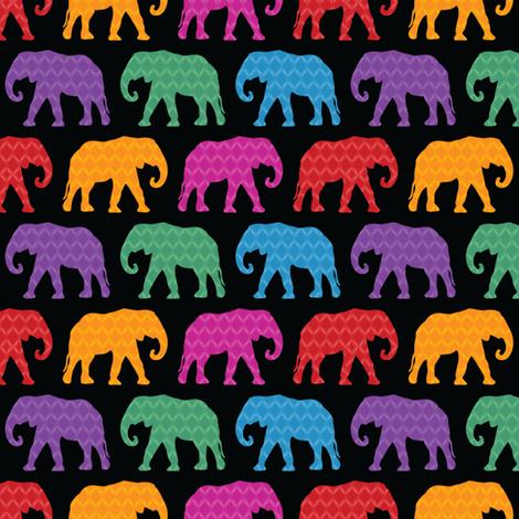 Exotic Elephants (Dark) fabric by robyriker on Spoonflower - custom fabric