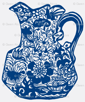 Vintage Blue Floral Pitcher