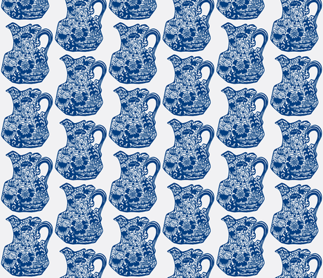 Vintage Blue Floral Pitcher fabric by serendipity_textiles on Spoonflower - custom fabric