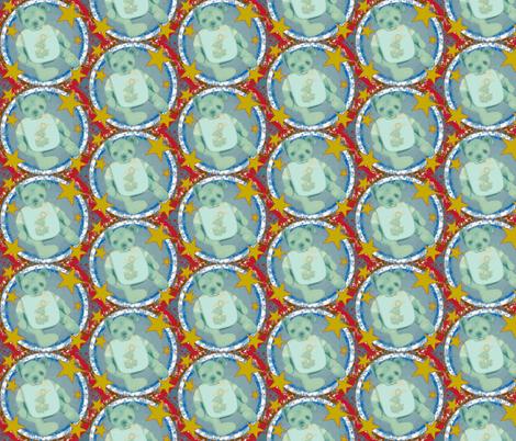 Retro Teddy Bear Blue/Red and Yellow fabric by janshackelford on Spoonflower - custom fabric