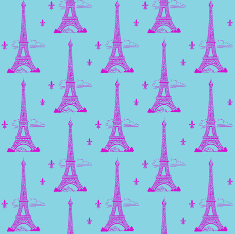 Eiffel Tower Hot Pink/Aqua Paris Bound Paris Bebe fabric by parisbebe on Spoonflower - custom fabric