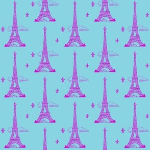 Eiffel Tower Hot Pink/Aqua Paris Bound Paris Bebe