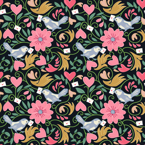 A Lovely Delivery - Black fabric by dianne_annelli on Spoonflower - custom fabric