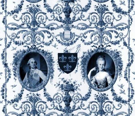 Rococo Lovers ~ Louis XVI and Marie Antoinette ~ Blue and White fabric by peacoquettedesigns on Spoonflower - custom fabric