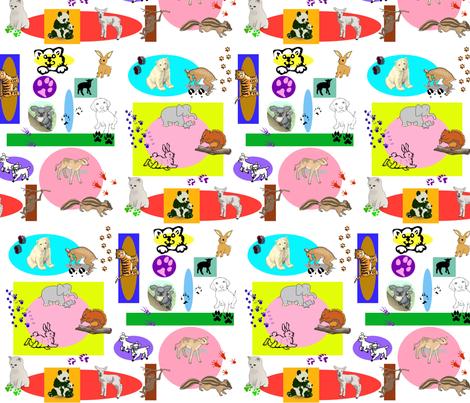 Baby Animal Blocks fabric by ravynscache on Spoonflower - custom fabric