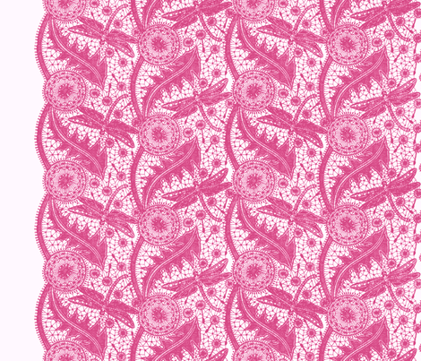 Dragonfly Lace ~ Tiers ~ Pink & White fabric by peacoquettedesigns on Spoonflower - custom fabric