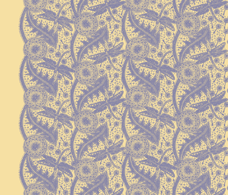 Dragonfly Lace ~ Tiers ~ French Provencal ~ Buttercream & Periwinkle fabric by peacoquettedesigns on Spoonflower - custom fabric