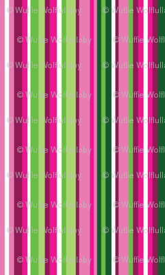 Narrow Pink and Green Watermelon stripes