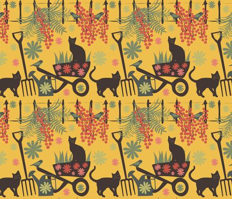 spring in the garden on yellow fabric by kociara on Spoonflower - custom fabric