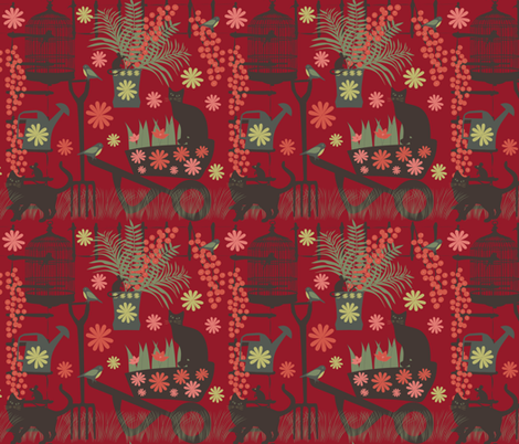spring gardening on red fabric by kociara on Spoonflower - custom fabric