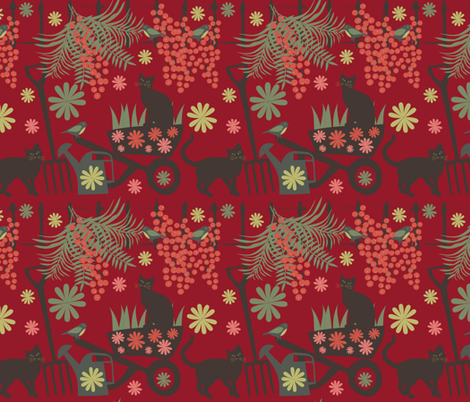 spring in the garden on red fabric by kociara on Spoonflower - custom fabric
