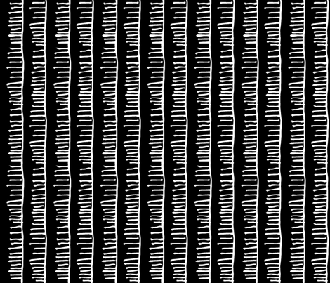 Notched Stripe: White on Black fabric by pond_ripple on Spoonflower - custom fabric