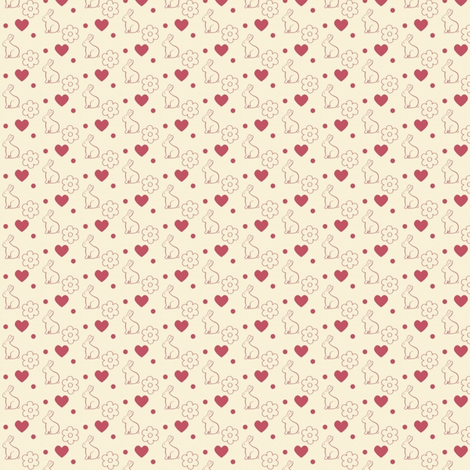 Bunny hearts and flowers fabric by mezzime on Spoonflower - custom fabric