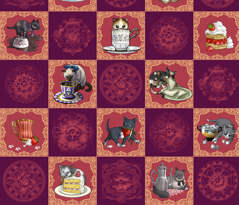 Kitten Tea Party Cheater Quilt fabric by ninniku on Spoonflower - custom fabric