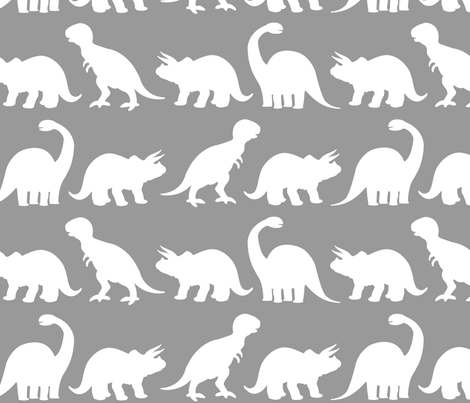 Dino Parade - Light Gray fabric by sshaw1tx on Spoonflower - custom fabric