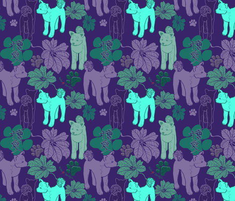 Inus and leaves (purple scheme) fabric by hakuai on Spoonflower - custom fabric