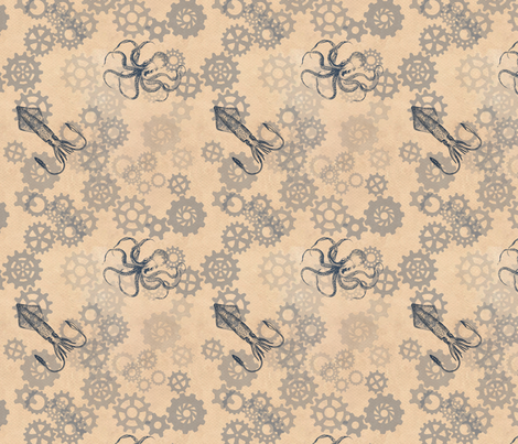 Octopus Gears Cream fabric by trollop on Spoonflower - custom fabric