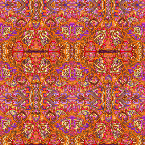 The Call of the Minaret  (a flaming orange abstract) fabric by edsel2084 on Spoonflower - custom fabric