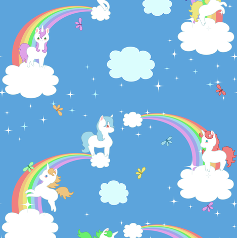 Unicorns and Rainbows - Small fabric by lyddiedoodles on Spoonflower - custom fabric