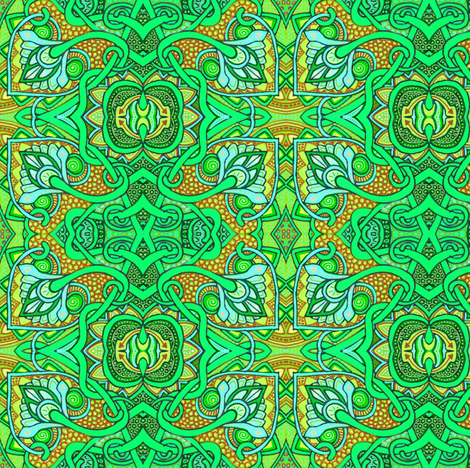 Reaching Outside of the Box (green version) fabric by edsel2084 on Spoonflower - custom fabric