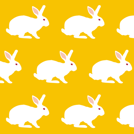 White Rabbit on Goldenrod fabric by smuk on Spoonflower - custom fabric