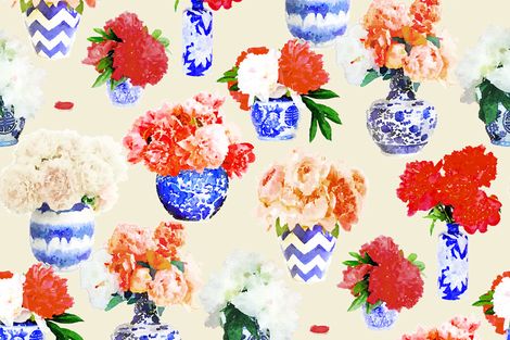 Custom Ginger Peony in Reds on Muslin fabric by danika_herrick on Spoonflower - custom fabric