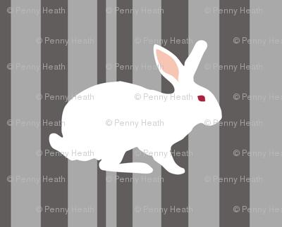 White Rabbit visits the Cheshire Cat on a Black n White TV
