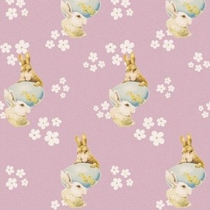Egg, bunnies, flowers