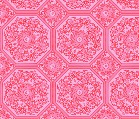 Persian Tile ~ Pink & Vermilion   fabric by peacoquettedesigns on Spoonflower - custom fabric