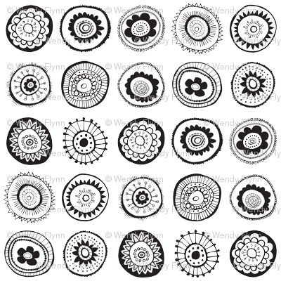 black and white medallions