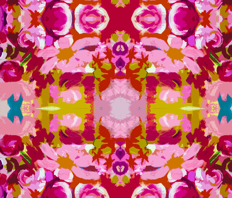Large Retro Flowers in Hot Pink, Lime, and Magenta.    fabric by theartwerks on Spoonflower - custom fabric
