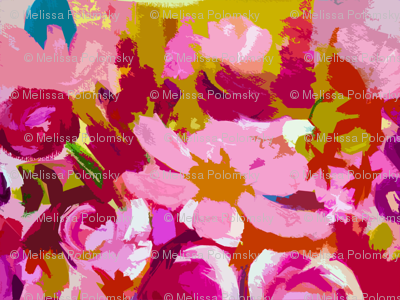 Small Pink and Red Abstracted Floral